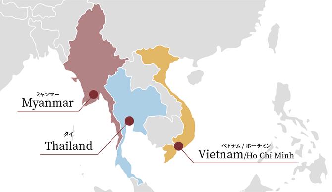 海外拠点の地図